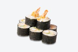 Состав: рис для суши, водоросли нори, креветка в кляре, огурец, салат китайский, спайси соус. Вес 177 гр. ( 8 кусочков)